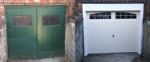 old and new garage doors