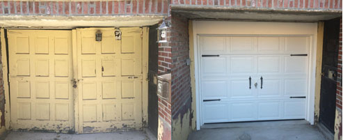 New garage door Brooklyn, before and after